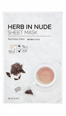 Маска тканевая Черный чай MISSHA Herb In Nude Sheet Mask Nutrition Care: фото