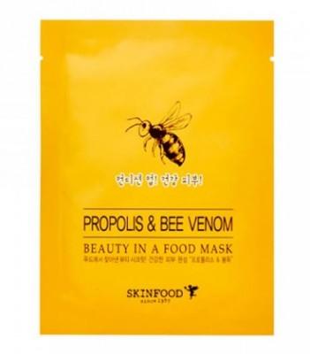 Маска для лица с прополисом и пчелиным ядом SKINFOOD Beauty In A Food Mask Sheet Propolis & Bee Venom: фото