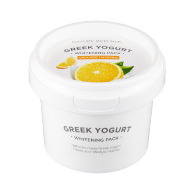 Маска йогуртовая осветляющая с экстрактом апельсина NATURE REPUBLIC GREEK YOGURT PACK_ORANGE WHITENING 130мл: фото