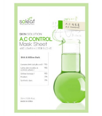 Маска тканевая для проблемной кожи с черной ивой Soleaf Skin Solution A.C Control Mask Sheet 25 мл: фото
