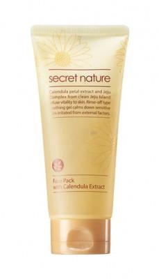 Маска для лица с лепестками календулы Secret Nature Face Pack with Calendula Extract 130 мл: фото