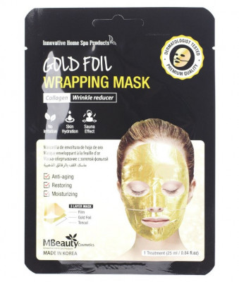 Макса антивозрастная золотая фольгированная с коллагеном MBeauty Gold Foil Wrapping Mask 25мл: фото
